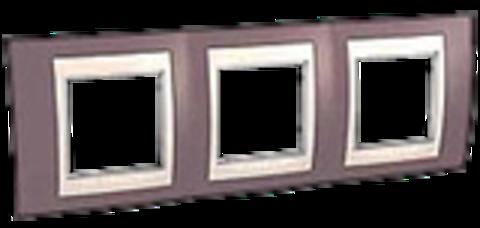 Рамка на 3 поста. Цвет Лиловый/Бежевый. Schneider electric Unica Хамелеон. MGU6.006.576