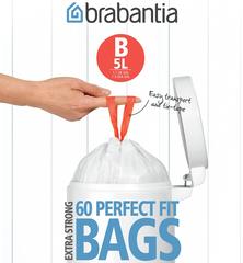 Мешки для мусора PerfectFit, размер В (5 л), упаковка-диспенсер, 60 шт.