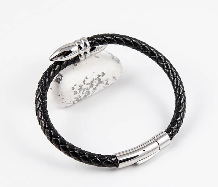 BM535 Необычный браслет шнур из черной кожи фото 07
