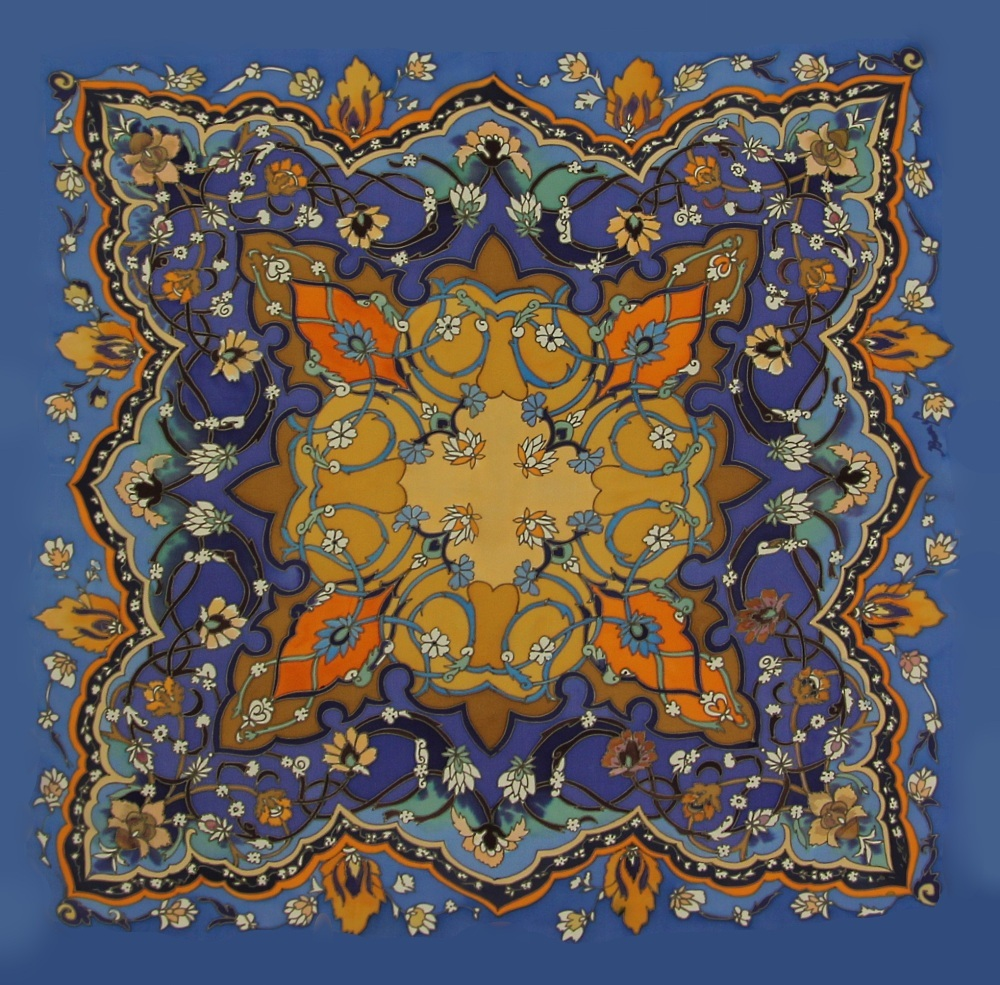 Платок батик Персидский синий С-61
