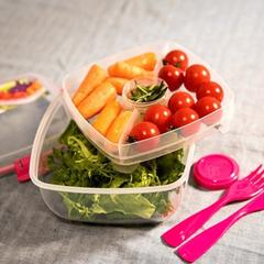 Контейнер для салата с разделителями и приборами Sistema