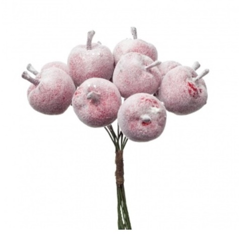 Набор яблок заснеженных на вставках 12шт., размер: D2,3xL8см, цвет: красный