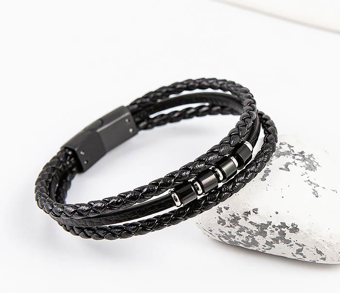 SLQ-1012K-075 Черный браслет «Spikes» из кожаных шнуров