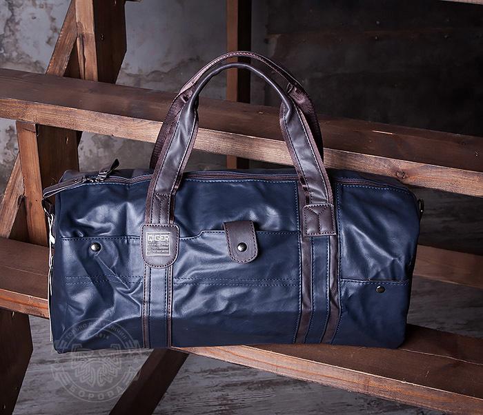 BAG408-3 Вместительная мужская сумка из кожи синего цвета фото 05