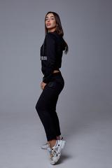 Спортивный костюм женский с капюшоном черный оптом
