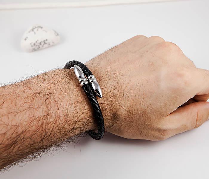 BM535 Необычный браслет шнур из черной кожи фото 09
