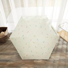 Зонт миниатюрный с защитой от УФ, 6 спиц, принт- Фрукты (бежевый)