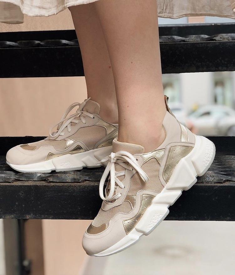 Кроссовки женские, Ballerina, Mosaico (золото)