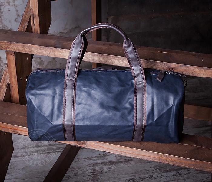 BAG408-3 Вместительная мужская сумка из кожи синего цвета фото 06