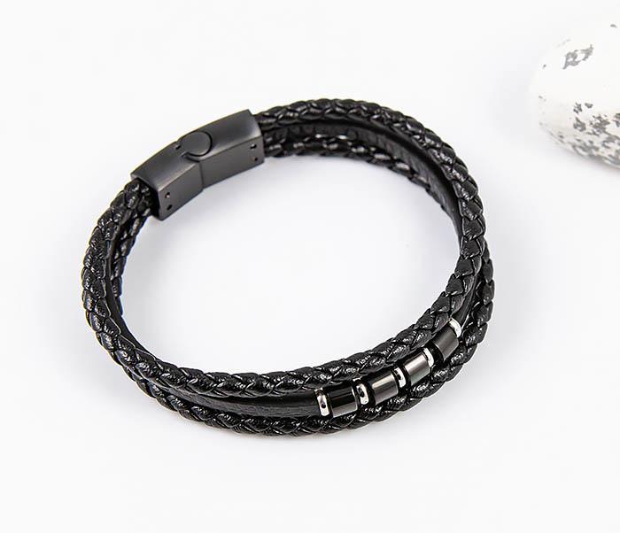SLQ-1012K-075 Черный браслет «Spikes» из кожаных шнуров фото 03