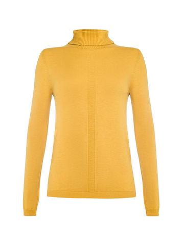 Женская водолазка желтого цвета из шерсти и шелка - фото 1