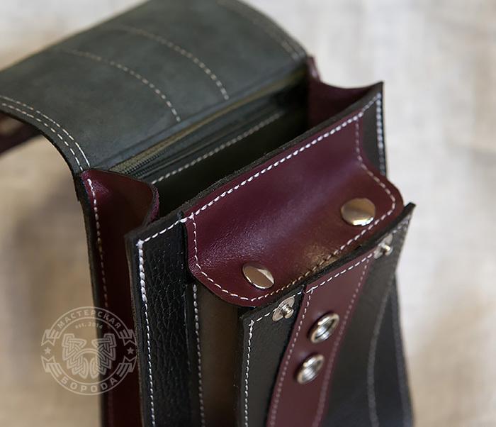 BAG379-3 Мужская поясная сумка ручной работы их натуральной кожи фото 03
