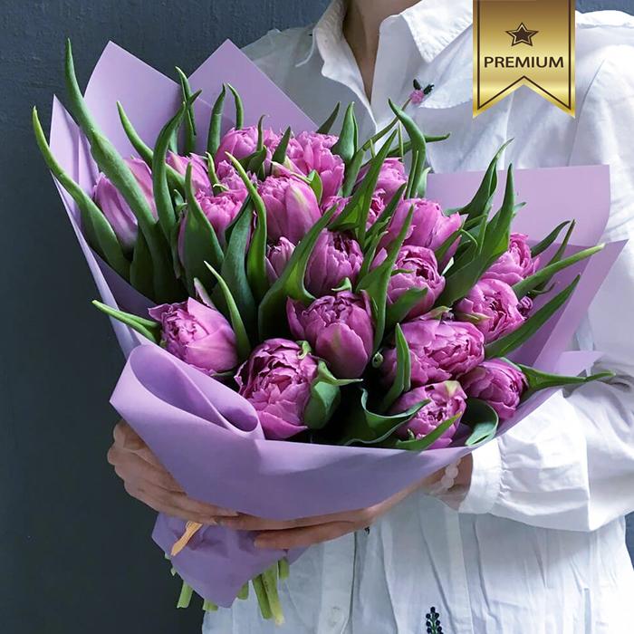 Купить букет из сиреневых пионовидных тюльпанов в Перми
