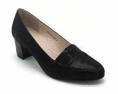 Туфли женские черные на устойчевом каблуке лазерная оьработка