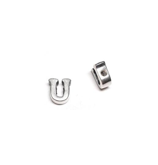 Alphabet letter U, sterling silver