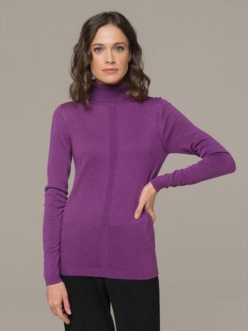 Женская водолазка лилового цвета из шерсти и шелка - фото 3