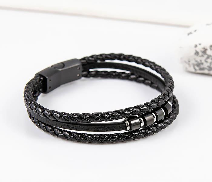 SLQ-1012K-075 Черный браслет «Spikes» из кожаных шнуров фото 04
