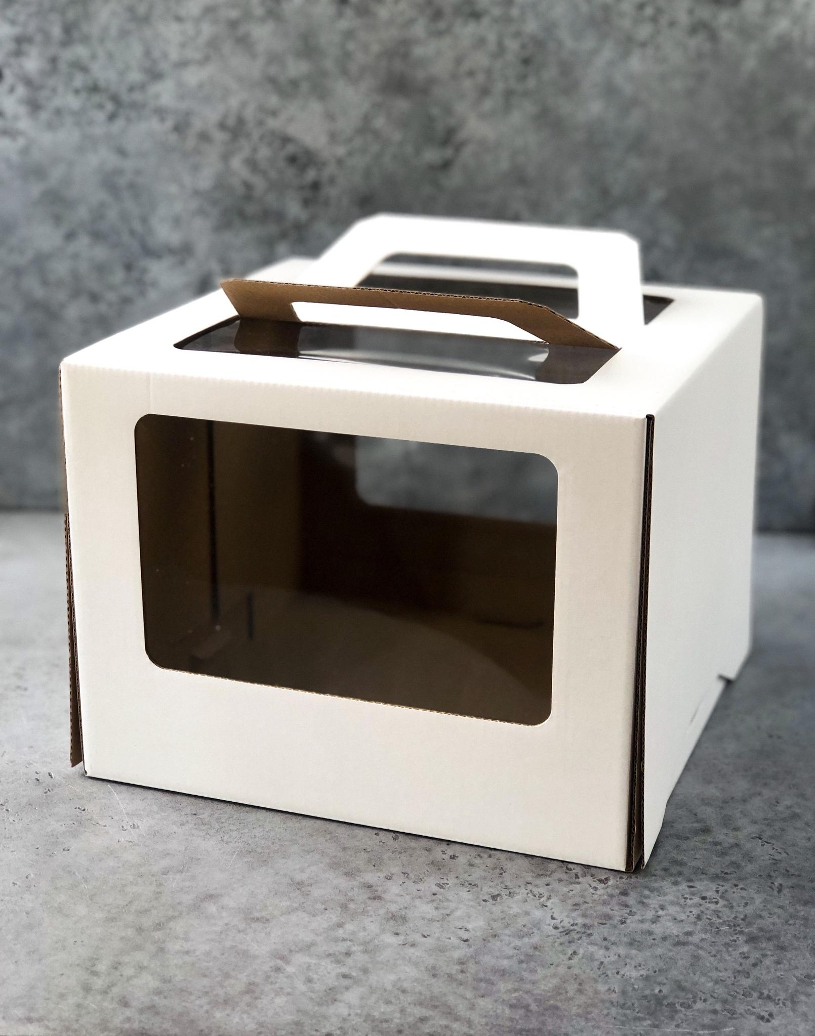 Коробка для торта с окном и ручкой, 26х26х20 см