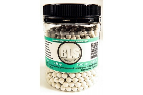 Шарики для страйкбола 6 мм BLS 0.25 гр (уп. 1000 шт) белые