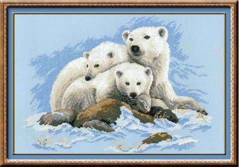 Набор для вышивания крестом «Белые медведи» (1033)