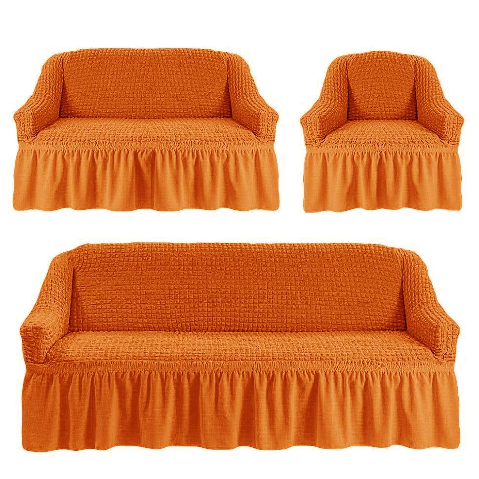 Чехлы на трехместный диван и двухместный диван + кресло,рыжий