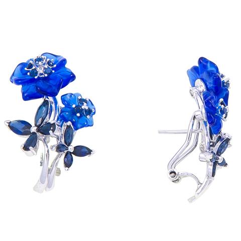 Серьги с цветами из синего кварца и сапфиром Арт.2203сс