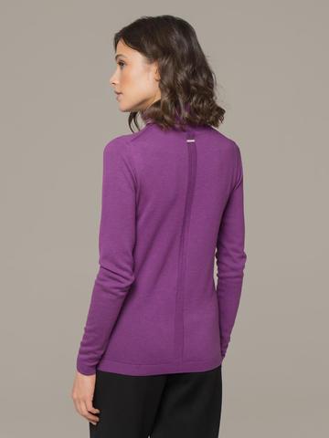 Женская водолазка лилового цвета из шерсти и шелка - фото 2