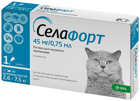 Селафорт 6% 45 мг. для кошек 2,6-7,5 кг.  0,75 мл.
