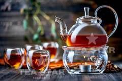 Стеклянный заварочный чайник Георгин 800 мл с подогревом от свечи