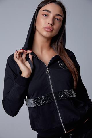 Спортивный костюм женский с капюшоном черный шоурум