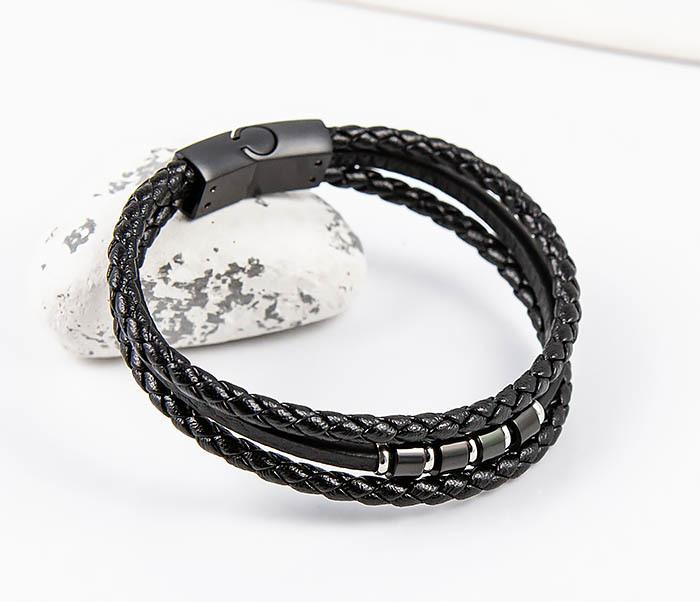 SLQ-1012K-075 Черный браслет «Spikes» из кожаных шнуров фото 06