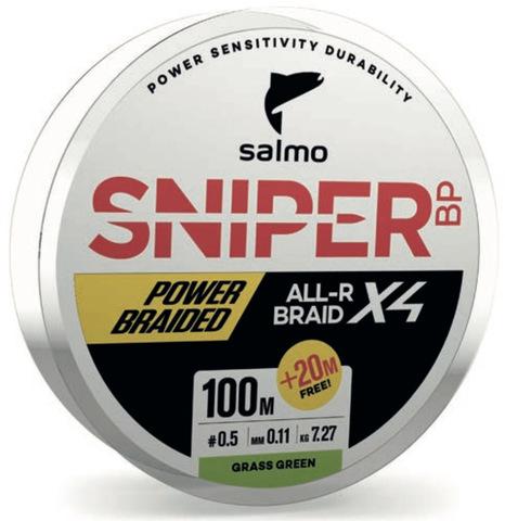 Шнур плетеный Salmo Sniper BP ALL R BRAID х4 Grass Green 120м, 0.11мм