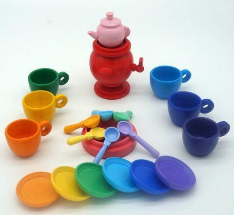 Посуда для гномиков Чаепитие (22 предмета) радужные оттенки градиент
