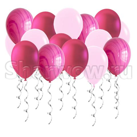 Воздушные шары под потолок Ярко-розовые оттенки