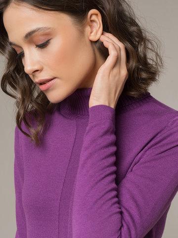 Женская водолазка лилового цвета из шерсти и шелка - фото 4