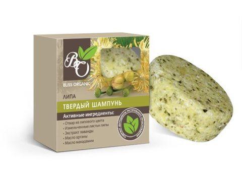 Натуральный твердый шампунь «Липа», Bliss organic 65 гр