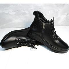 Сникерсы ботинки кожаные женские Evromoda 375-1019 SA Black