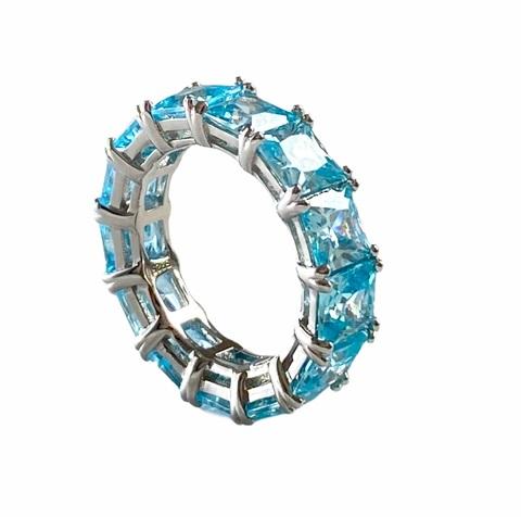 47920- Кольцо-дорожка из серебра с голубыми цирконами огранки принцесса