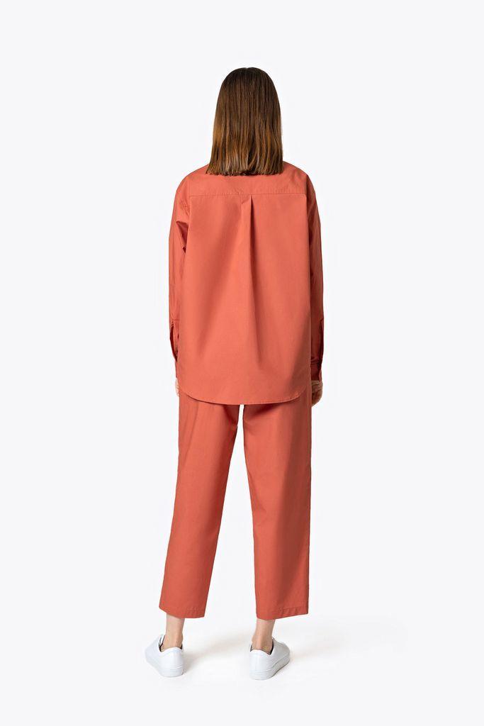 Легкие брюки из хлопка коралловые