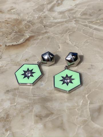 Серьги Сириус из серебра с зеленой эмалью