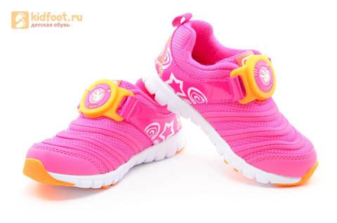 Светящиеся кроссовки для девочек Фиксики на липучках, цвет фуксия, мигает пряжка на липучке. Изображение 8 из 16.