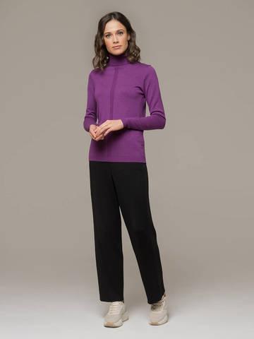 Женская водолазка лилового цвета из шерсти и шелка - фото 5