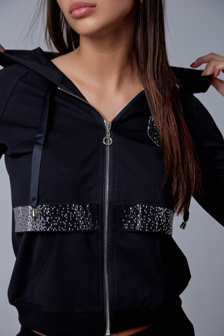 Спортивный костюм женский с капюшоном черный купить