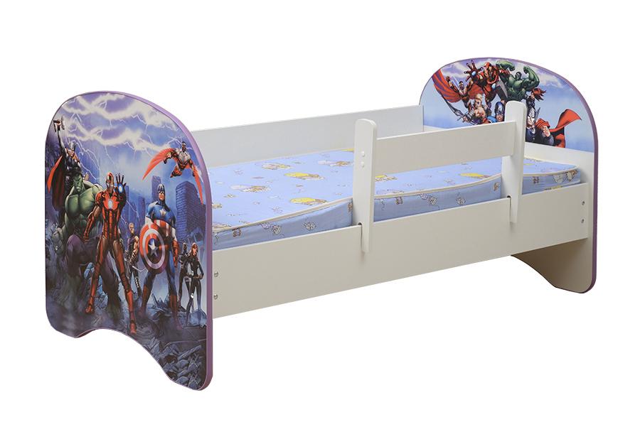 Кровать детская с фотопечатью Герои