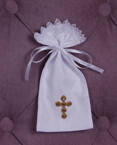 Мешочек для волос Крестик золотой (белый)