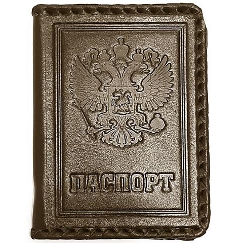 Обложка на паспорт | Герб РФ с оплеткой | Коричневый