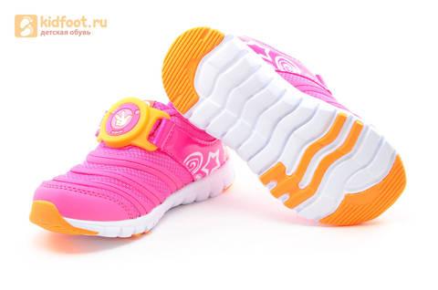 Светящиеся кроссовки для девочек Фиксики на липучках, цвет фуксия, мигает пряжка на липучке. Изображение 9 из 16.