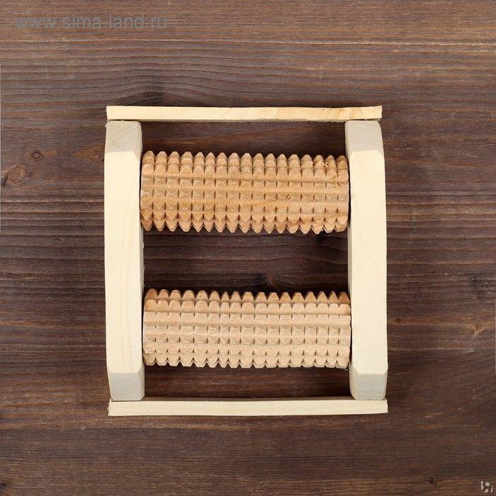 Массажер деревянный для одной стопы, 2 валика, бук