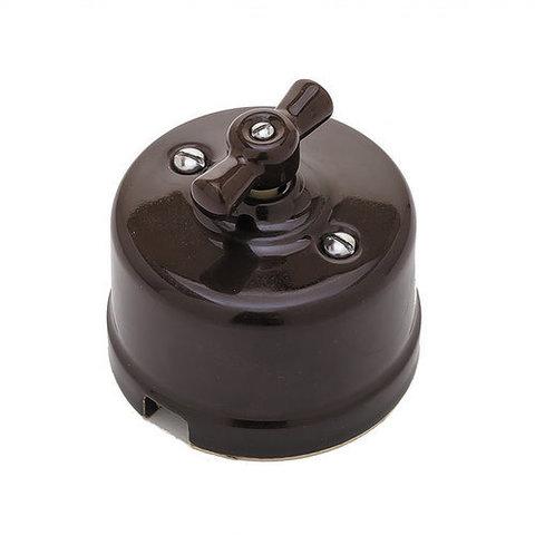 Выключатель керамический 1 клавишный/проходной (коричневый)