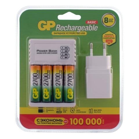 Зарядное устройство + 4 аккум. АA 2700mAh + адаптер (GP270AAHC/2CR4)
